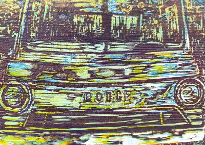 Dodge van woodcut print